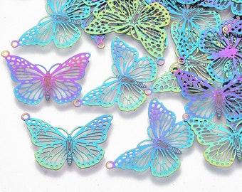 "Filigree Butterfly, Rainbow Metal, about 1"", Shiny, Stainless Steel Pendants, Earring, Charm, Necklace, Bracelet, Great for Earrings"