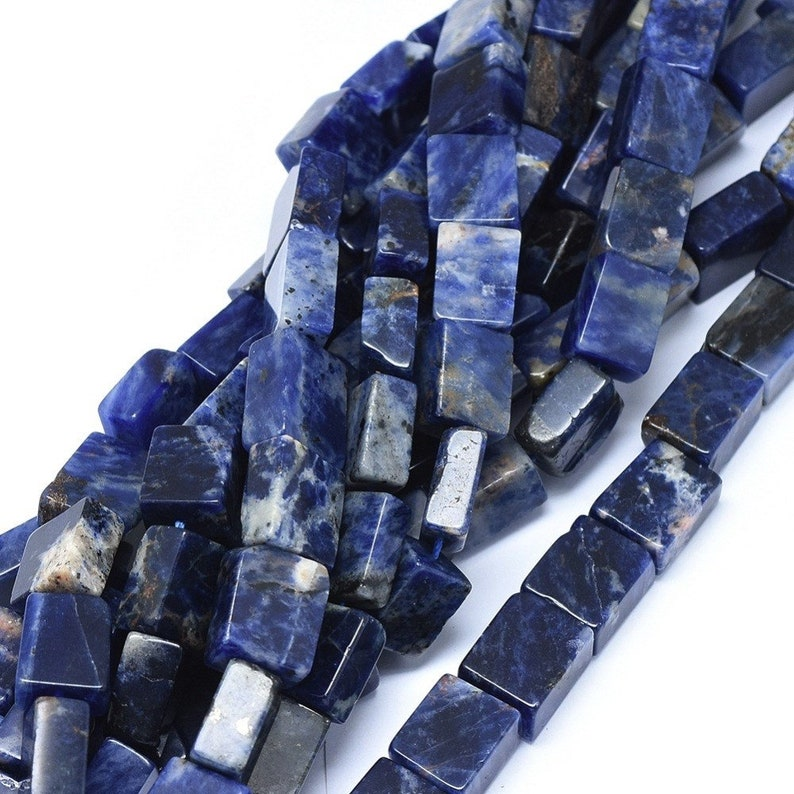 Rectangle Natural Sodalite Beads Strands High Quality about 14mm x 11 mm Purple Mountain Beads