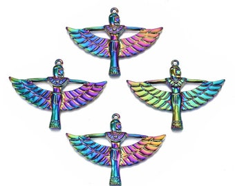 """Rainbow Metal, Rainbow Alloy Pendants, Ancient Egyptian Winged Goddess, 3D Front, Over 2"""", 42x56x3.5mm, Hole: 1.8mm , Great for Necklaces"""