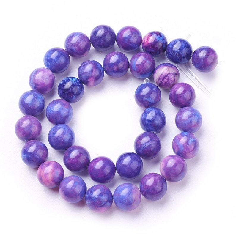 14.8  Boho Purple hole: 0.6mm 10mm Natural Quartz Crystal Beads Strands Purple Mountain Beads about 45pcsstrand Round