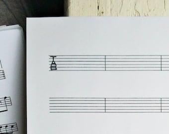 Hand Drawn Tablature, Tab, Guitar Sheet Music, BLANK Manuscript Paper, Printable PDF Instant Download, Transcription, US Letter Size