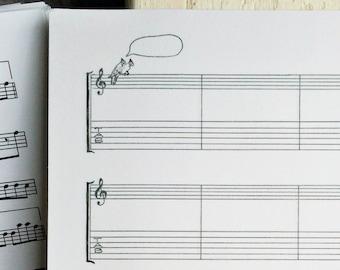 Hand Drawn Staff & Tab Sheet Music w/ Parrots, BLANK Manuscript Paper, Printable PDF, Instant Download, Transcription, US Letter Size