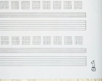 Hand Drawn Staff & Tab w/ Chords Sheet Music w/ Circus Pig, BLANK Manuscript Paper, Printable PDF,Instant Download, Transcription, US Letter