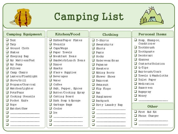 Camping Trip Packing List and Meal Plan Printable Bundle