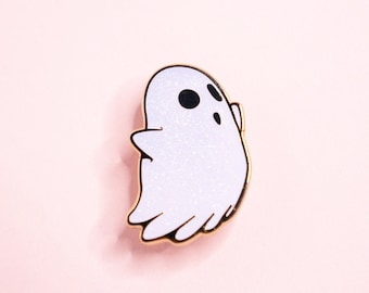 White Ghost Enamel Pin w/ Glitter