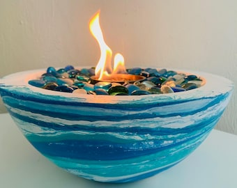 """Fire Bowl Pit Indoor/ Outdoor Table Top """"Ocean Blue"""" the Florida Fire Bowl"""