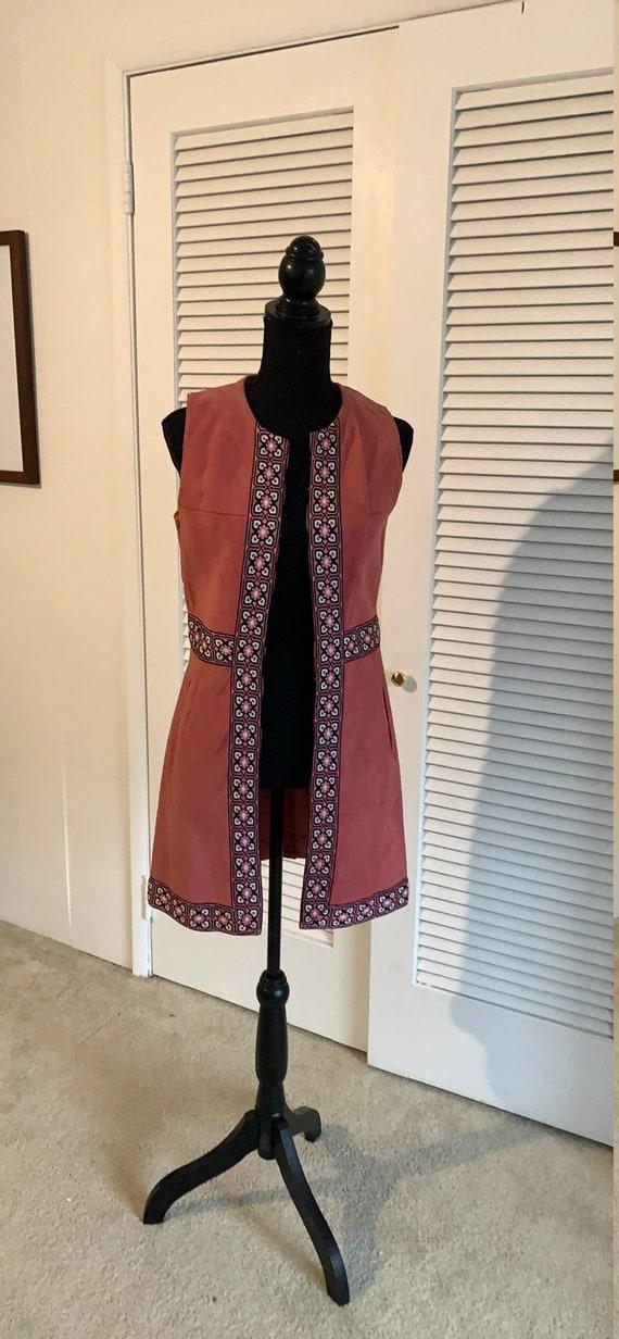 Vintage pink suede leather open hippie boho vest j