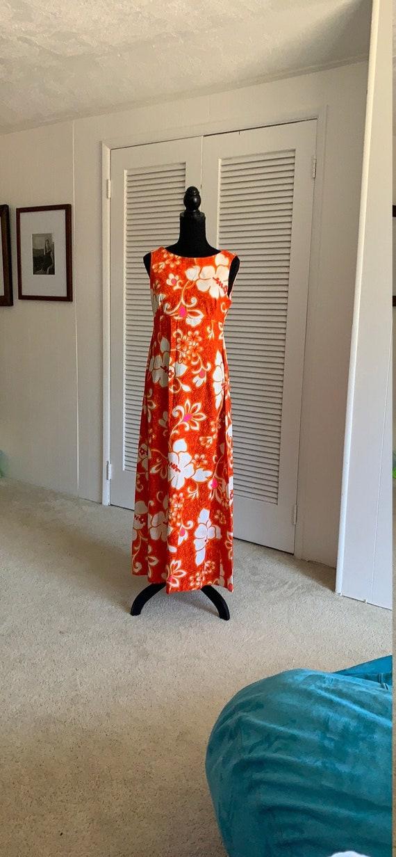 Vintage Hawaiian Dress 1960s Orange flower