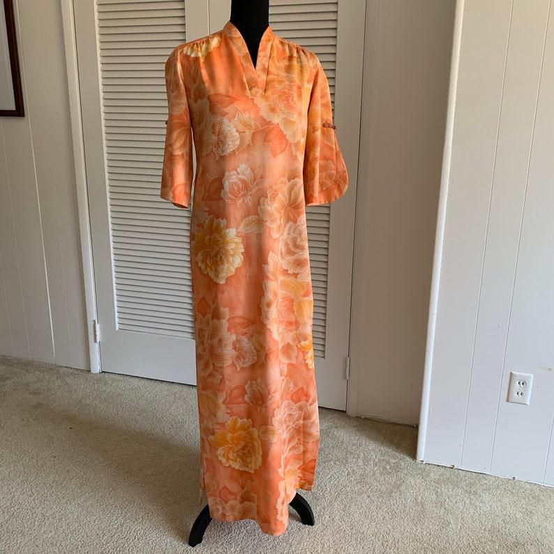Vintage Polynesian Casuals Hawaii Hawaiian sheath dress with slits