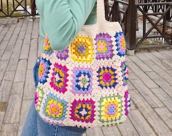 Crochet Bag Afghan, Granny Square Ecru Bag, Hobo Bag, Boho Bag, Crochet Purse, Retro Bag, Hippie Bag, Afgan Crochet, Vintage Style