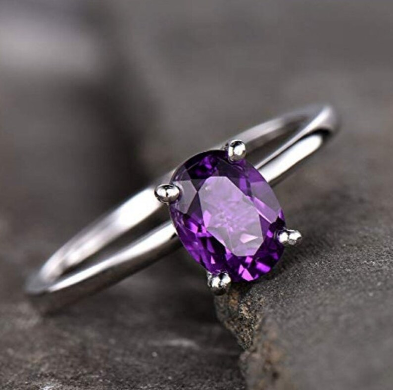 February Birthstone Amethyst Jewelry Birthstone Ring 925 Silver Ring 925 Silver Ring Natural Amethyst Ring Amethyst Faceted Ring