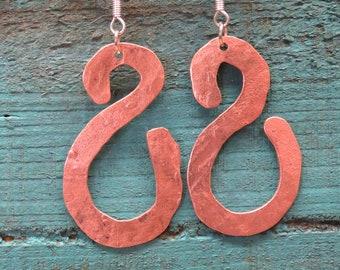 hippie beaten metal rustic jewellery bohemian handmade boho hand crafted hammered hippy Silver earrings