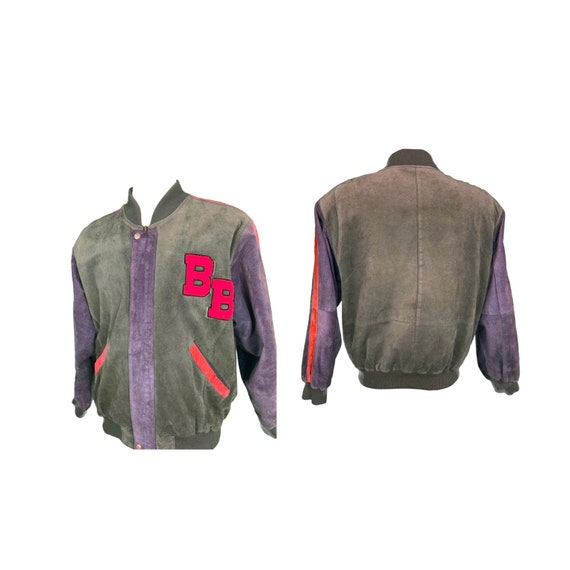 Bugle Boy Patchworked Leather Letterman Suede Embr
