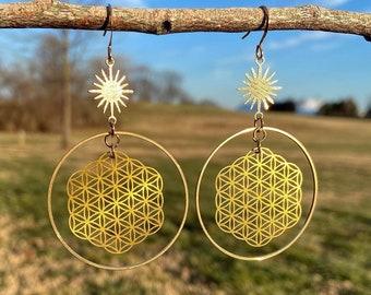 Hook Dangle Drop Wood Jewelry 1.7 Sacred Geometry Metatron Cube Earrings made of Sustainable Walnut Wood
