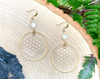 Sacred Geometry Flower of Life gold plated hoops