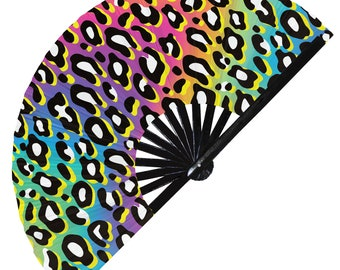 GOOD VIBES ONLY Leopard Print Turquoise Wooden Fabric Spanish Folding Hand Fan