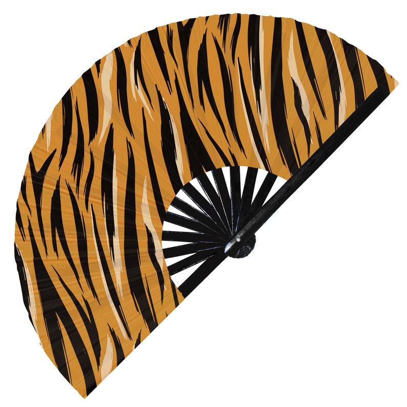 Tiger Print Pattern UV Glow Foldable Hand Fan White Tiger fur print pattern handheld fan animal rainbow tiger print fan gold tiger print fan
