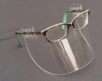InvisiShield Face Shield ATTACHES TO GLASSES Reusable Washable Cover Face Mask Safety Clear