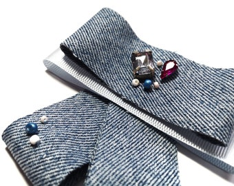 Gift for her Pink brooch Denim woman bow tie Summer accessory
