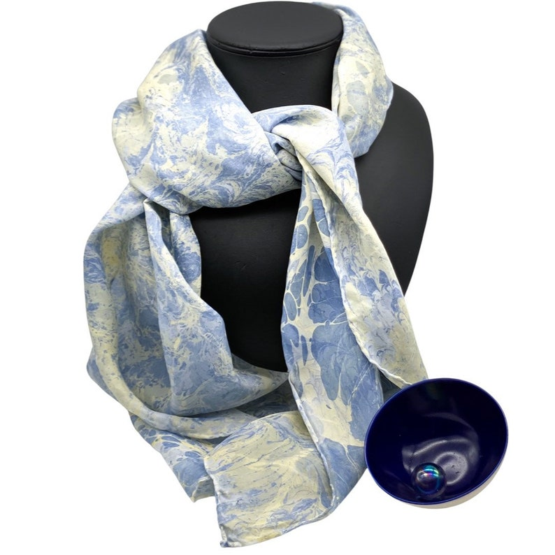 Long Silk Scarf  100% Silk  Blue and Cream  One of a Kind  image 0