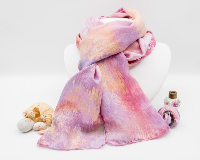 Gail  unique hand-marbled 100% silk scarf in sunrise and image 0
