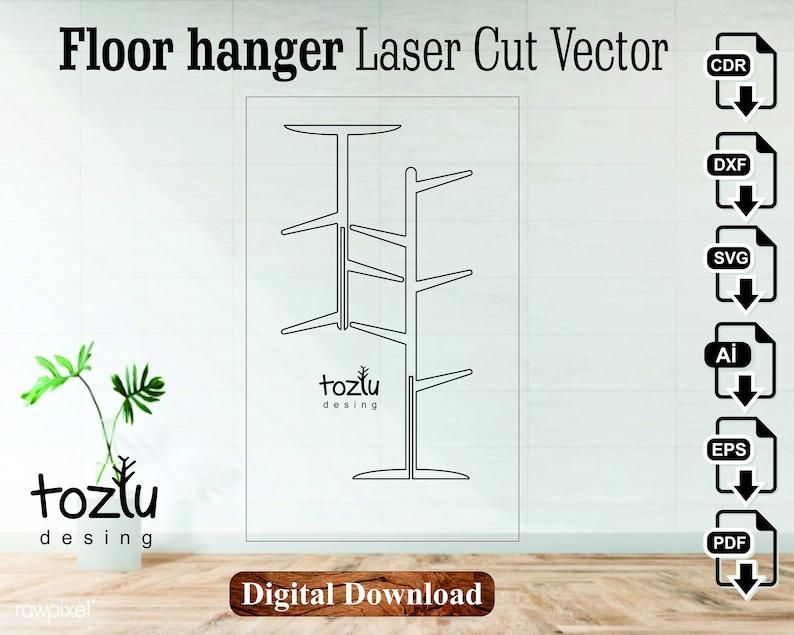 floor hanger laser cut vector file svg cdr dxf