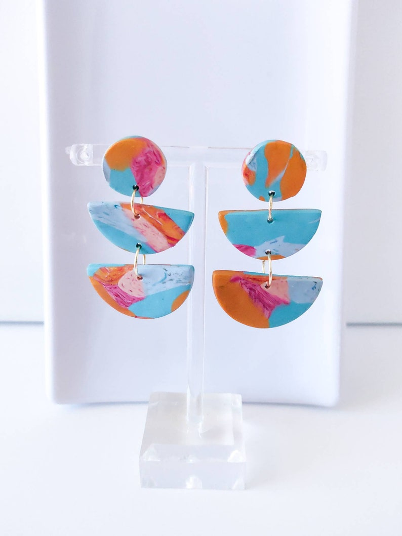 Multicolored Polymer Clay Earrings Semicircle Design Gift For Her Statement Earrings
