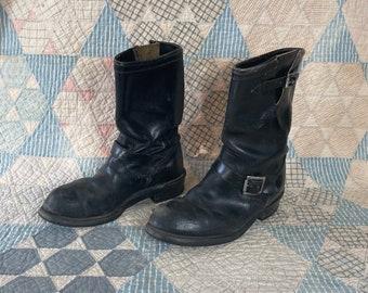 Vintage 1980s Carolina Steel Toe Boots 8 2E Black Leather Motorcycle Logger Engineer Work