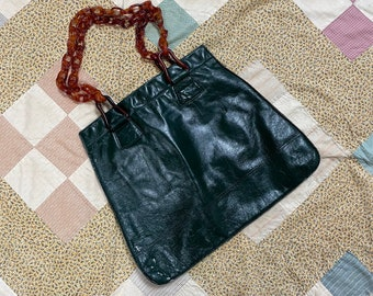 Vintage 1950s Forest Green Leather Purse With Tortoiseshell Lucite Chain Handle