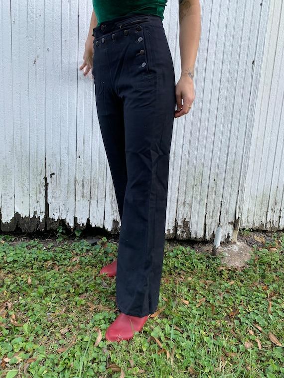 1940s Satin Lined Sailor Pants Size 30x32 - image 5
