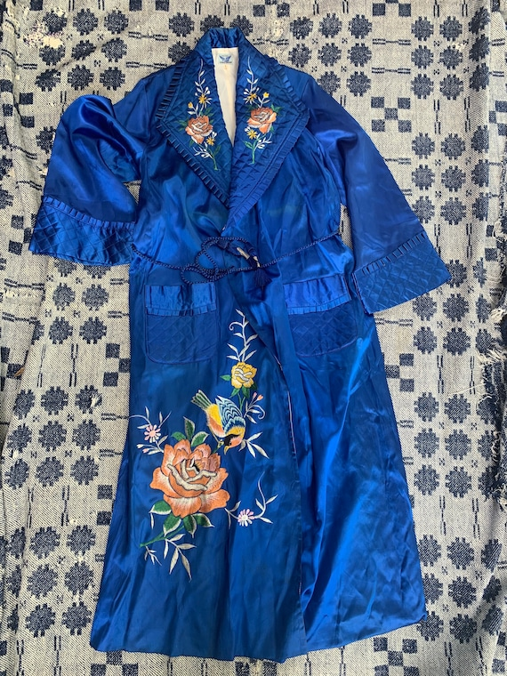 1950s Blue Satin Japanese Smoking Robe
