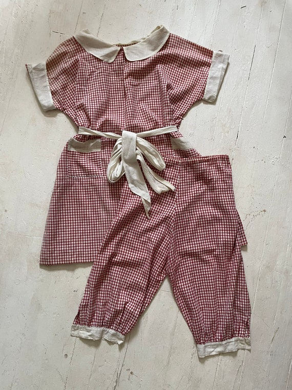 Vintage 1930s Cotton Feedsack Gingham Shirtdress w