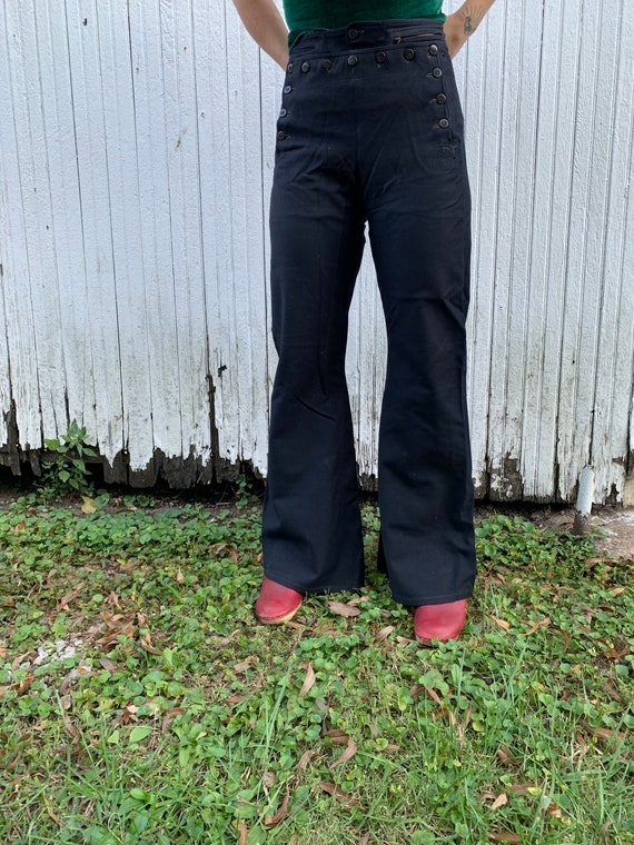 1940s Satin Lined Sailor Pants Size 30x32 - image 4