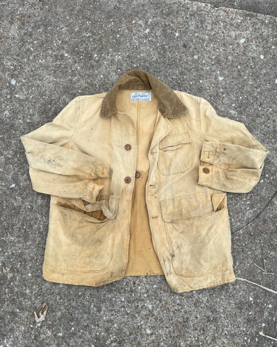 Vintage 1940s Faded Sportswear Canvas Hunting Coat