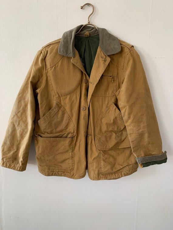 Vintage 1940s Mustard Brown Hunting Coat Corduroy