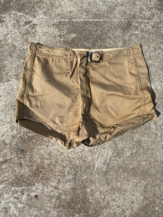 Vintage 1940s Safari Style Tan Colored Shorts With