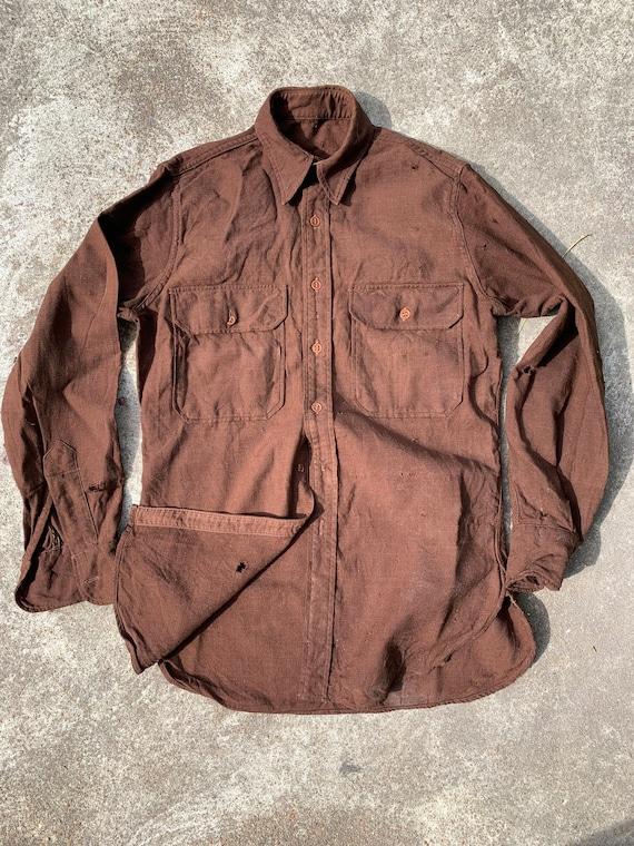 1940s Wool/ Rayon Blend Button Up Work Shirt Size