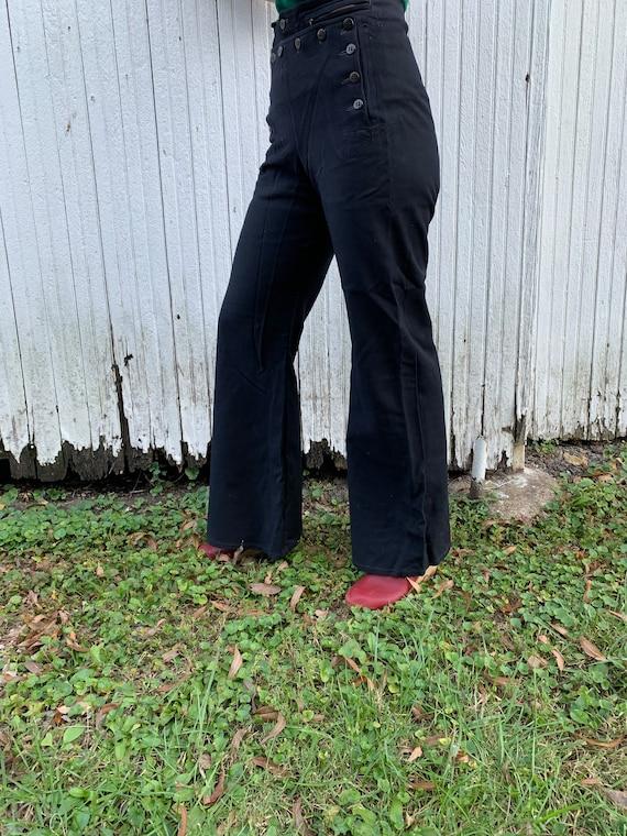 1940s Satin Lined Sailor Pants Size 30x32 - image 3