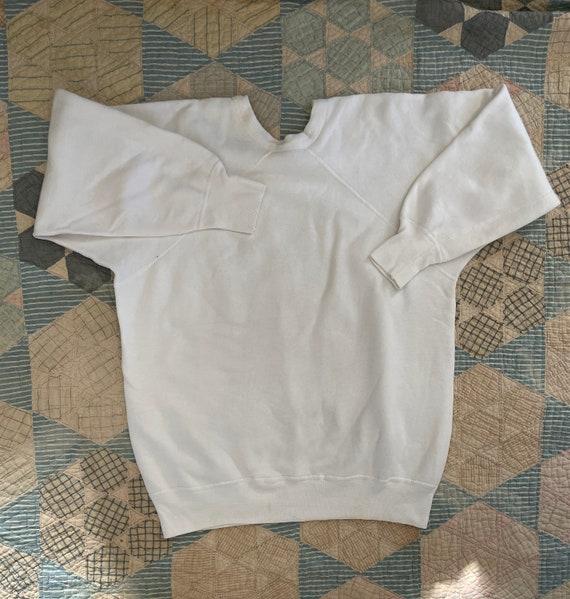 Vintage 1940s- 1950s Oneita Plain White Raglan Swe