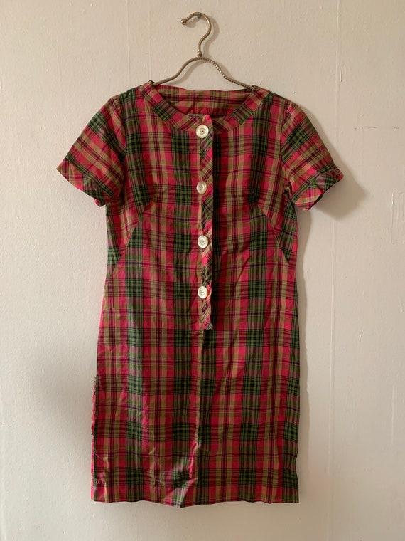 Vintage 1940s Cotton Plaid Button Down Shirtdress/