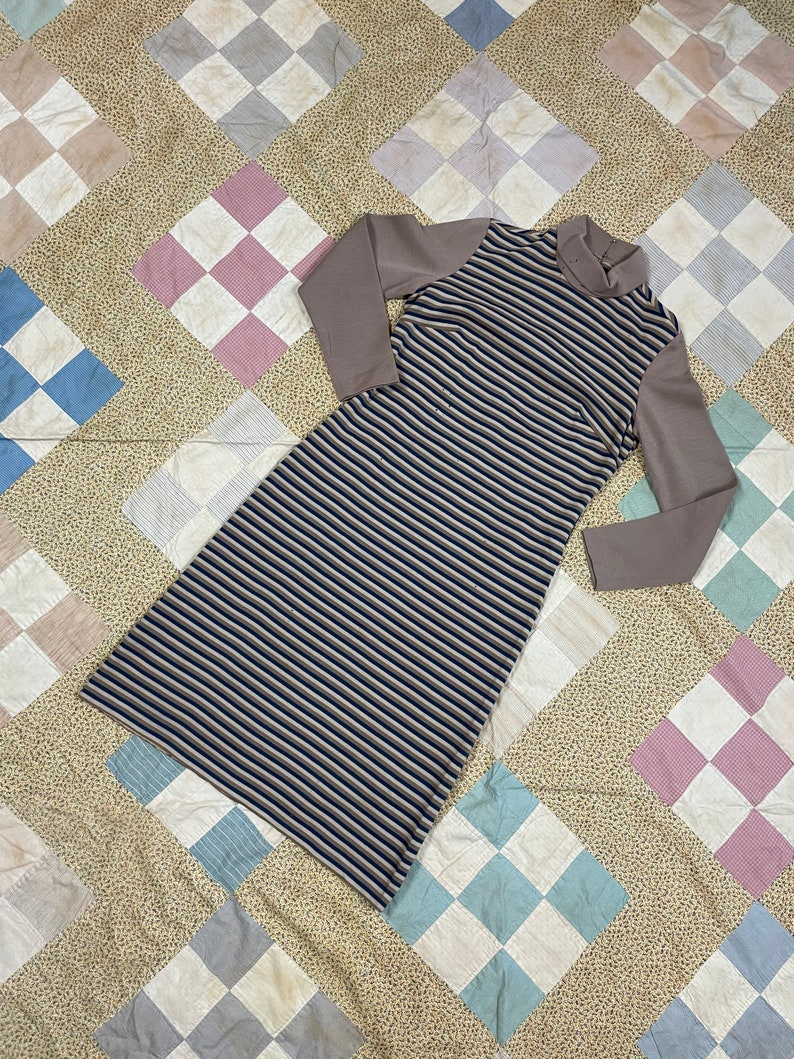 Vintage M 1960s Striped Knit Mock Neck Fitted Dress Earth Tones