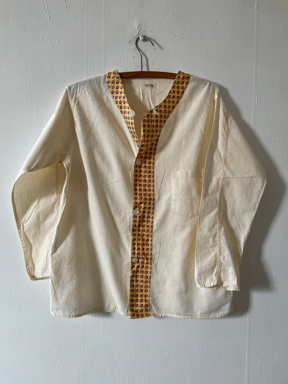 Vintage 1930s Broadcloth Feedsack Cotton Button Up