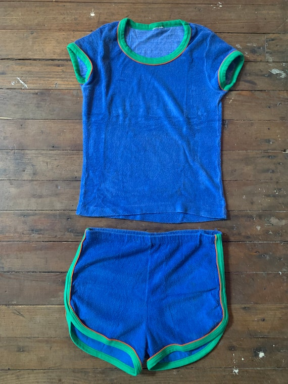 1970s Two Piece Terrycloth Jogging Suit Size S