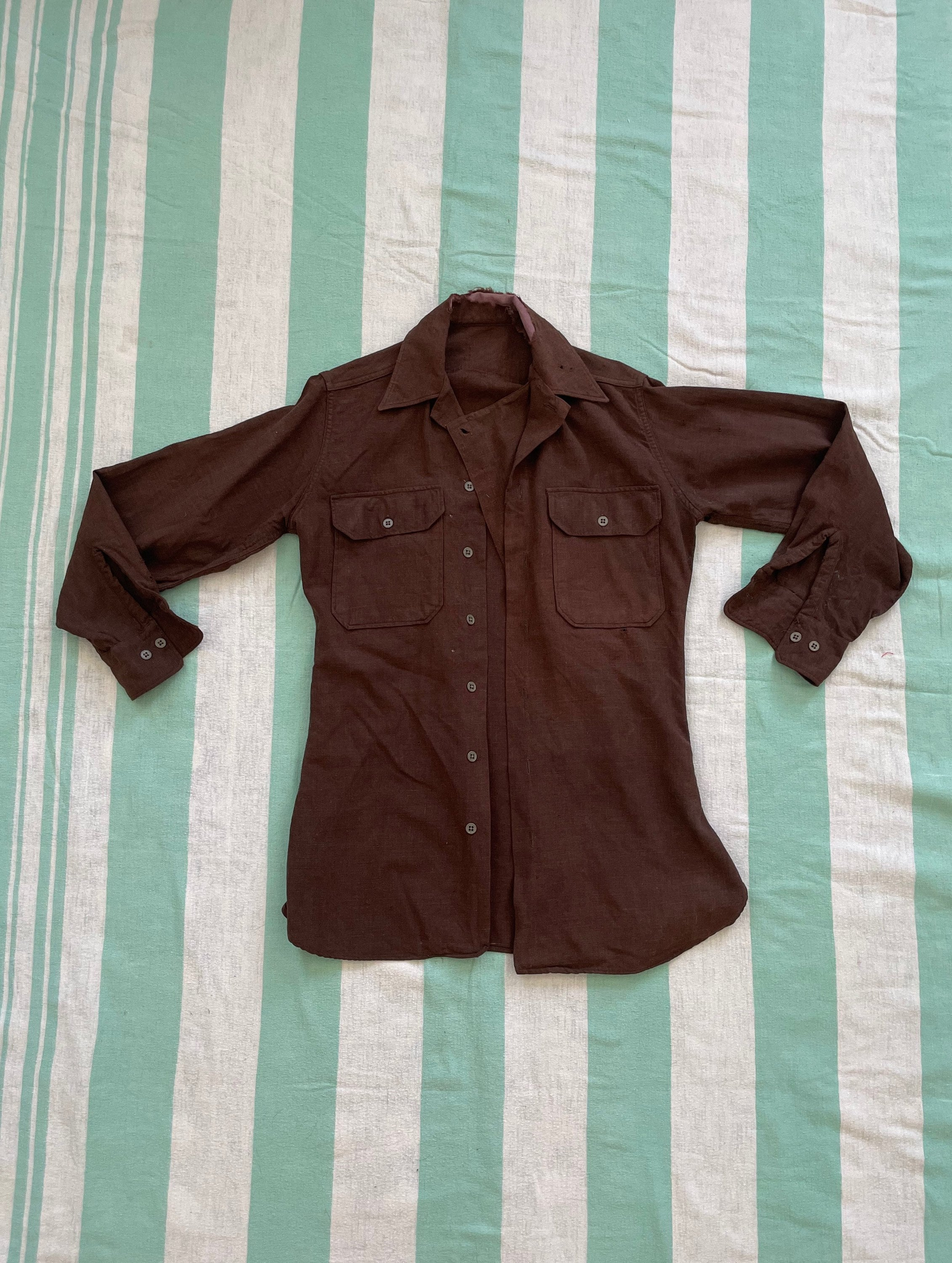 1940s Men's Shirts, Sweaters, Vests Vintage Overdyed 1940S-50S Wool Military Field Shirt With Gas Flap $0.00 AT vintagedancer.com