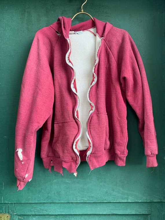 1970s Thrashed Thermal Lined Raglan Hoodie Size M