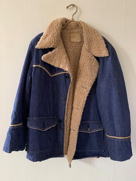 Vintage 1960s Sherpa Lined Selvedge Denim Jacket S