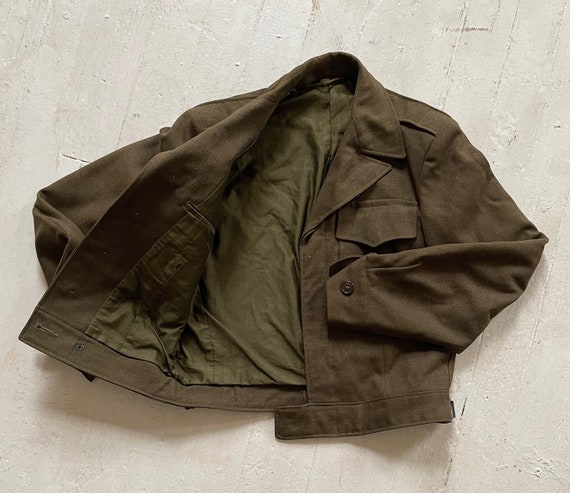 Vintage 1940s Wool Cropped Military Jacket Size 36