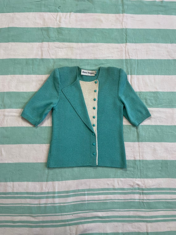 Vintage 90s does 40s Rayon Knit Teal Sweater Top s