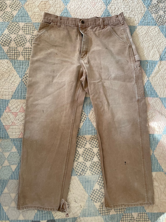 Vintage Faded Tan Canvas Carhartt Dungarees Size 3