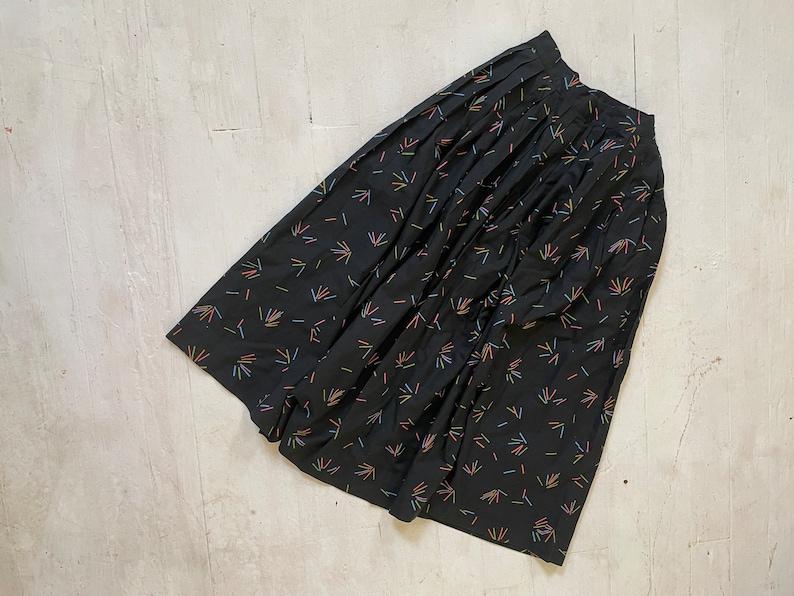 Vintage 1950s Confetti Print Cotton Gathered Waist Skirt \u201cBab Chic\u201d Size 24\u201d waist